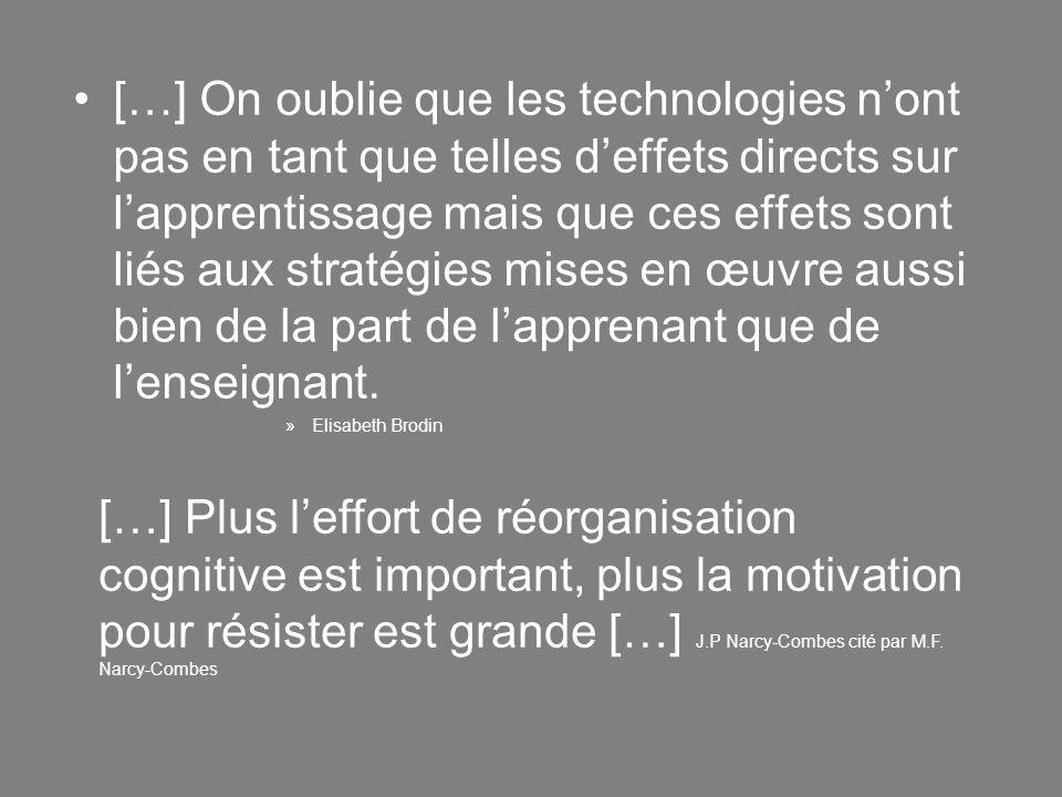 […] On oublie que les technologies n'ont pas en tant que telles d'effets directs sur l'apprentissage mais que ces effets sont liés aux stratégies mises en œuvre aussi bien de la part de l'apprenant que de l'enseignant.